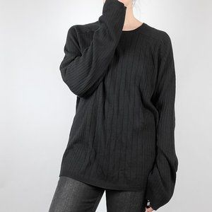 Silk Blend Oversized Ribbed Black Sweater